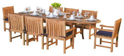 9-piece Outdoor Teak Dining Set 94 Oval Extension Table 8 Arm Chairs Devon