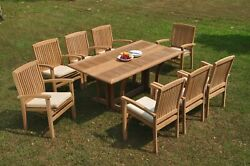 9-piece Outdoor Teak Dining Set 69 Console Table 8 Stacking Arm Chairs Wave