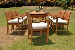 9-pc Outdoor Teak Dining Set 117 Masc Oval Extn Table 8 Stacking Chairs Napa