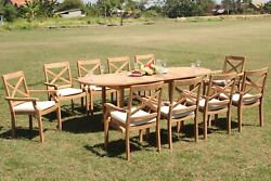 11-piece Outdoor Teak Dining Set 94 Masc Oval Table 10 Stacking Chairs Grand