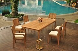 7-piece Outdoor Teak Dining Patio Set 83 Rectangle Table, 6 Chair Maldives