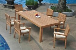 7-piece Outdoor Teak Dining Set 86 Rectangle Table 6 Stacking Arm Chairs Leve