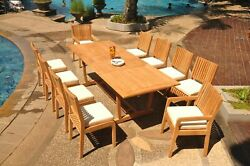 11-pc Outdoor Teak Dining Set 94 Masc Rectangle Extn Table 10 Chairs Maldives