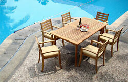 7-piece Outdoor Teak Dining Set 94 Rectangle Table 6 Stacking Arm Chairs Trav