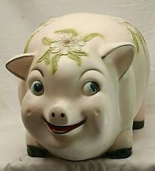 White Pig Piggy Coin Bank Chalkware Flowers Vintage Huge Cute Colorful Mexico