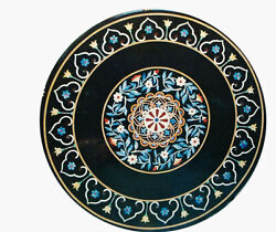 Black Round Marble Dining Table Top Turquoise Floral Inlay Art Kitchen Deco B286