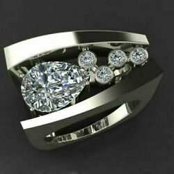 Modernist Engagement Wedding Unique Menand039s Ring 14k White Gold 2.6ct Pear Diamond