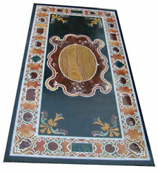 Black Marble Dining Table Top Scagliola Inlay Handmade Art Kitchen Decorate B299