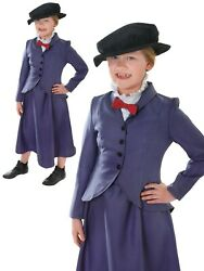 Victorian Nanny Mary Girls Costume Kids Fancy Dress Outfit Childs Book Week Day