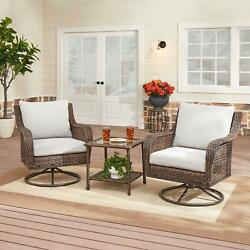 Bistro Set Outdoor Patio Glass Top Table And Swivel Chairs Oversized 3-piece
