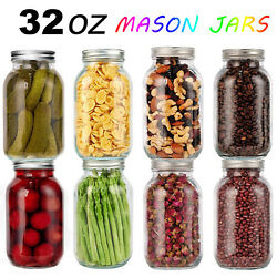 8-pack 32oz Glass Mason Jars With Lids Big Clear Airtight Containers Canning New