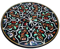 Black Round Marble Dining Table Top Carnelian Floral Inlay Art Kitchen Deco B323