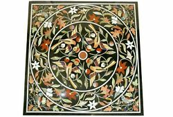 Black Marble Dining Table Top Pietra Dura And Marquetry Floral Inlay Art Deco B319