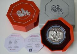 Singapore 2017 Lunar Year Series 4th Ed Rooster Year 1 Troy 9999 Silver Coin 5