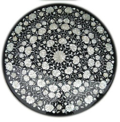 Black Marble Dining Table Top Mosaic Mop Floral Inlay Art Home Kitchen Deco B330