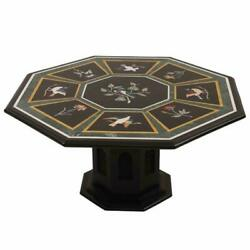36 Black Marble Dining Table Top With 24 Stand Floral Inlay Art Home Deco B311
