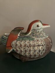 Vintage Old Chinese Asian Porcelain Duck Box With Lid,tureen, Figurine