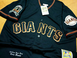 Sf Giants 25 Barry Bonds Special Dual Patches Sewn Jersey Black 2xl Nwt