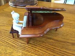 Vintage Wood Music Box Lefton Grand Piano Plays With Girl And Stool
