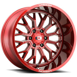 4-vision 402 Riot 24x12 8x180 -51mm Red/milled Wheels Rims 24 Inch