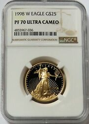 1998 W Gold 25 Proof American Eagle 1/2 Oz Coin Ngc Pf 70 Uc