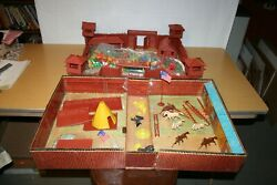 Marx Fort Apache Carry All Action Play Set And Plastic Fort Parts - Incomplete