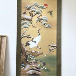 Japanese Painting Hanging Scroll Bird-and-flower Winter Crane Asian Antique
