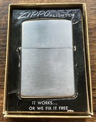 Zippo 1968 Brushed Chrome In Original Box Good Condition Vintage Working Order