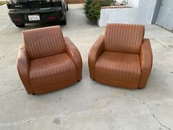 Vintage Set Of Leather Mid Century Deco Leather Club Cigar Chairs Sfo Airport