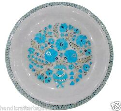 13 White Marble Fruit Bowl Collectible Turquoise Semi Precious Table Deco H1441