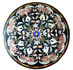 Black Round Marble Dining Table Top Scagliola Marquetry Floral Inlay Decors B336