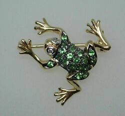2ct 14k Two Tone Gold Over Green Emerald And Diamond Vintage Frog Pin Brooch