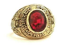 Vintage United States Army Gold Red Sapphire Stone Ring Size 10 Made In Usa
