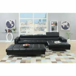 Bonded Leather 2 Piece Sectional Set In Black Black Americana