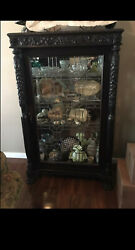 Antique Carved Display Case W/ Lions Head And Feet Carved Pillars Lead Glass.
