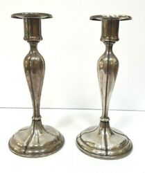 Antique Frank Smith Solid Sterling Silver Candlesticks C 1910 15.2 Troy Oz Nice