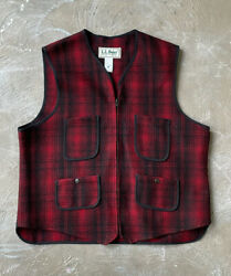 Vtg 80s 90s Ll Bean Red Plaid Wool Made In Usa Buckle Back Vest Mens L Buffalo