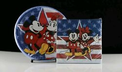 New Disney Mickey And Minnie Mouse Usa Set Of Plates And Napkins - 4th Of July