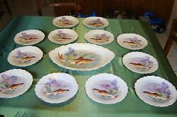 Antique Limoges Flambeau Hand Painted Platter And 12 Plates Fish Game Set Iris