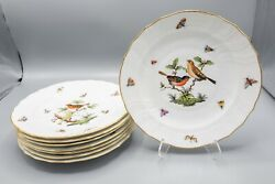 Herend Rothschild Bird Luncheon Plates 9 Set Of 8–1522 Free Usa Shipping