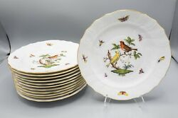 Herend Rothschild Bird Luncheon Plates 9 Set Of 12–1522 Free Usa Shipping