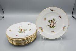 Herend Rothschild Bird Bread Plates 6 7/8 Set Of 8–1516 Free Usa Shipping
