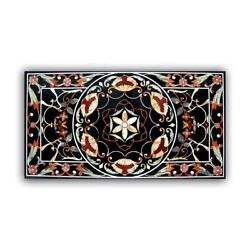 Black Marble Dining Table Top Mosaic Pietra Dura Inlay Floral Art Home Deco B350