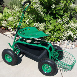 Sunnydaze Rolling Garden Cart W/ Extendable Steering Handle Seat And Tray - Green