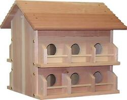 Martin Bird House Deluxe Wood Weather Resistance Roof Lifts Garden Lawn Decor
