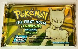 💖pokemon The First Movie 8 Trading Cards Plus One Foil Card 1998 New Sealed
