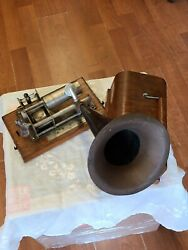 Antique American Graphophone Columbia Phonograph W/ 53 Records 1897we Ship