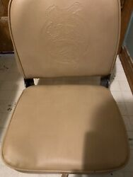 New Bandm Chestnut Folding Fold Down Boat Seat Chair Embossed Bass And Duck Design