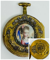 Rare 1780 Fancy Diamond Jacques Coulin And Amy Bry Geneva Verge Fusee Pocket Watch