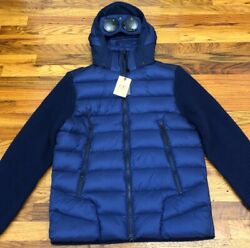 Nwt C.p. Company Wool Knit Down Goggle Jacket It 56 Blue 100 Authentic